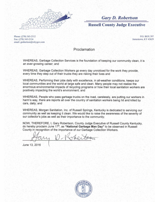 Russell County Kentucky Official Proclamation for Waste and Recycling Workers Week