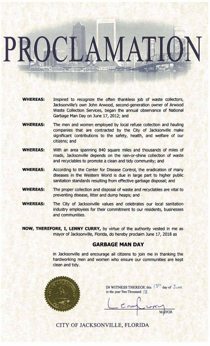 City of Jacksonville, FL Waste and Recycling Workers Week Proclamation