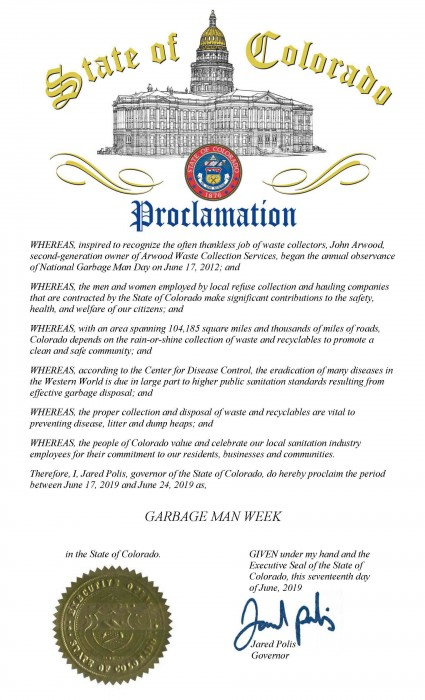 State of Colorado Waste and Recycling Workers Week Proclamation